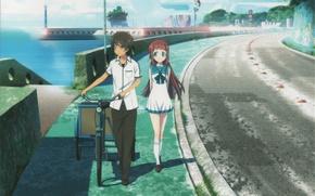 Picture road, sea, bike, promenade, students, Like no Asukara, Tsumu Let Kihara, Manaka Mukaido, Once calm …