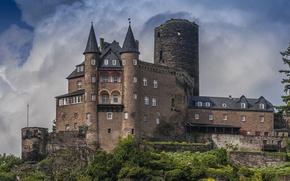 Picture clouds, trees, castle, wall, tower, Germany, the bushes, Burg Katz Castle, Katz