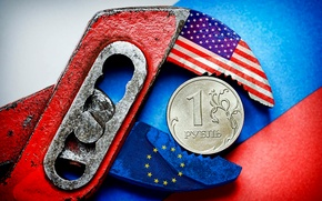 Picture flag, Russia, Europe, USA, the ruble, sanctions