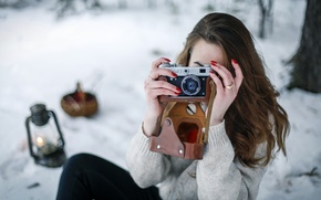 Picture winter, girl, the camera