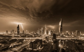 Picture the storm, the sky, night, storm, zipper, home, storm, the evening, skyscrapers, Kuwait, they