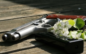 Picture gun, weapons, Board, flowers, Beretta, self-loading