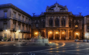 Picture area, Italy, fountain, theatre, Sicily, Catania, Massimo Bellini