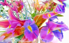 Picture line, flowers, abstraction, paint, petals, touch