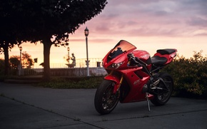 Wallpaper red, 675, motorcycle, sportbike, Triumph, Daytona, twilight, the sky