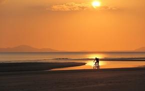 Picture sea, beach, bike