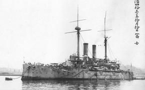 Picture Fuji at anchor, Fuji, in 1908, Japanese battleship