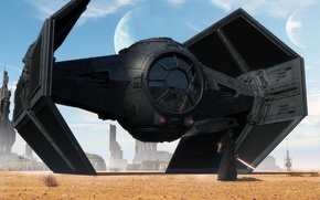 Picture sand, the sky, Bush, planet, tower, Star Wars, Spaceship
