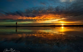 Picture the sky, water, the sun, clouds, reflection, river, the evening, Oregon, Bay, USA, the Pacific …