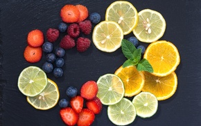 Wallpaper berries, raspberry, lemon, orange, strawberry, fruit, citrus, mint, blueberries