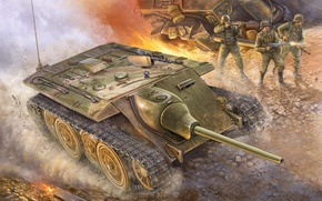 Picture war, art, painting, ww2, German E10 Tank Destroyer