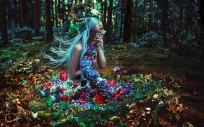 Picture forest, girl, flowers, Kindra Nikole, Of Withering Abundance