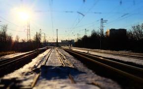 Picture the sun, the way, rails, Railways, station, railroad, train