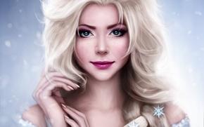 Picture girl, snowflakes, hands, art, braid, Mochifin, Elsa, FROZEN