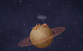 Picture space, planet, Saturn, flying saucers
