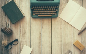 Picture wood, notebook, book, glasses, table, pine, desk, typewriter, pine cone