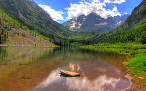 Picture grass, water, trees, lake, stone, valley, canyon, forest