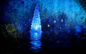 Picture water, light, glare, reflection, rendering, holiday, magic, magic, toy, new year, ice, backlight, cave, tree, …
