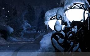 Picture winter, new year, lantern