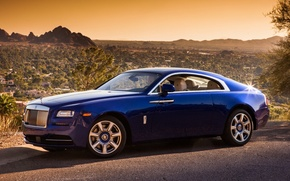 Picture background, desert, Rolls-Royce, the front, Rolls-Royce, Wraith, Reys