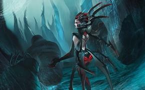Picture spider, woman, spider, League of Legends, web, Elise