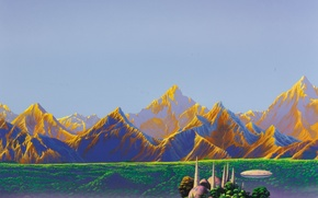 Picture mountains, island, fantasy