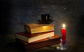 Picture books, candle, dice