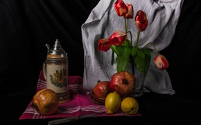 Picture flowers, lemon, Tulip, still life, garnet, thermos
