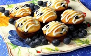 Picture background, widescreen, Wallpaper, food, blueberries, wallpaper, dessert, widescreen, cakes, background, sweet, glaze, cupcake, full screen, …