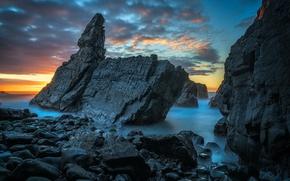 Picture sea, night, rocks