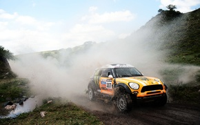 Picture orange, Water, Auto, Mini, Sport, Machine, Squirt, Lights, Mini Cooper, Rally, Dakar, Mini