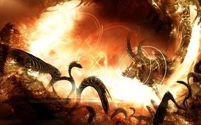 Wallpaper monster, fire