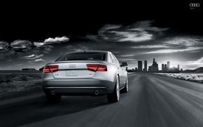 Picture road, the city, audi