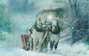 Picture winter, snow, horses, texture, horse, art, sleigh