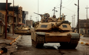 Picture Abrams, main battle tank USA, in the city of tall afar, M1 Abrams