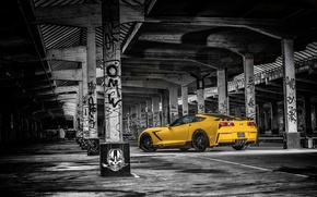 Picture yellow, background, tuning, Corvette, Chevrolet, Chevrolet, rear view, tuning, Stingray, Corvette, HPE700, Ruffer Performance
