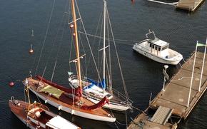 Picture yachts, pier, Stockholm, Sweden, Sweden, Barkas, Stockholm