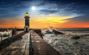 Picture sea, sunset, lighthouse