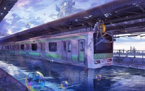 Wallpaper the sky, water, girl, the city, bubbles, building, train, dog, anime, art, lalil-the