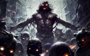Picture eyes, monster, art, chain, horror, The Guy, the lost children, disturbed, panico747
