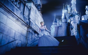 Picture girl, night, castle, cosplay, Cinderella, NikitaCosplay