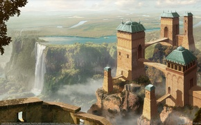Picture tower, mountains, art, river, the city, art, Argentina, trees, castle, river, CG wallpapers, fantasy, towers, …