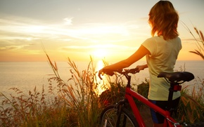 Wallpaper sea, wheat, the sky, water, girl, the sun, clouds, sunset, nature, bike, reflection, river, background, ...