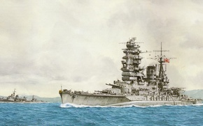 Picture ship, art, Navy, military, battleship, Japanese, battleship, WW2, Nagato, IJN
