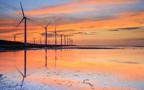 Picture reflection, blue, windmills, China, windmills, shore, Strait, the evening, water, orange, stranded, Taiwan, the sky, ...