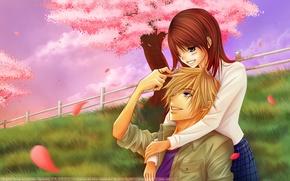Picture hugs, pair, manga, mobile Daisy