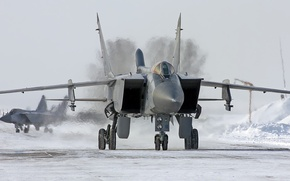 Wallpaper winter, snow, wing, Fighter, pair, Engine, Russia, the plane, the airfield, aircraft, military, BBC, wings, ...