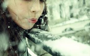 Picture winter, girl, snow, snowflakes, children, mood, hat, brunette, girl