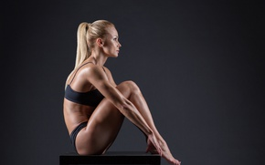 Wallpaper model, blonde, pose, fitness, toned body, sculpted