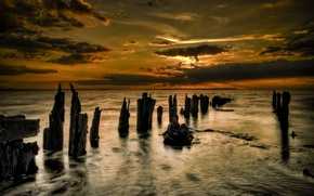 Wallpaper logs, Sea, clouds, sunset